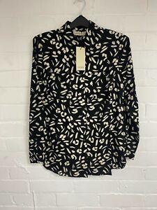 Ex Oasis Shirt Mono Animal Printed pocket Detail Blouse Top Size 8 - 16 (