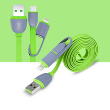 2 in 1 Micro USB + Lightning Sync Data Charger Adapter Cable For Samsung iPhone