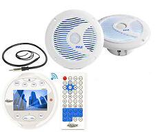 "6.5"" Marine LED Speakers, Lanzar White Bluetooth AM FM Mp3 Round Radio/ Antenna"