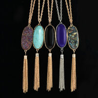 Women Big 2'' Oval Abalone Druzy Stone Tassel Pendent Necklace Long Chain New