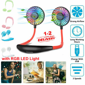 LED Lazy Neck Hanging Dual Mini Cooling Fan Sport Portable USB Rechargeable Fan