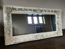 ANTIQUE WHITE SHABBY CHIC FRENCH OVERMANTLE CHUNKY WOOD WALL MIRROR 4FT x 3FT