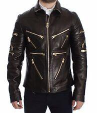 NWT $6400 DOLCE & GABBANA Brown Lambskin Leather Zipper Jacket Coat EU52/US42 /L