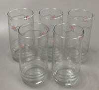 Set of 5 Corelle Livingware English Breakfast Glass Tumblers Drinking Glasses AA