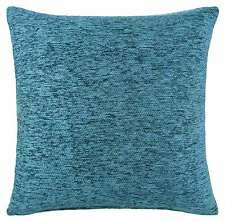 EX John Lewis Plain Chenille  45cm x 45cm Cushion Cover  with Inner Pad- Dr Blue