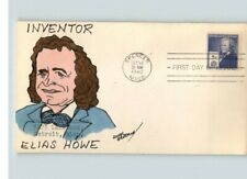 ELIAS HOWE, Hand Painted INVENTOR, Famous American, 1940 canc. Spencer, Massachu