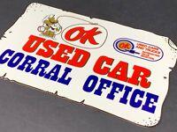 VINTAGE CHEVROLET OK USED CAR CORAL OFFICE 12 METAL AUTOMOBILE GASOLINE OIL SIGN