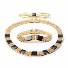 Vintage Czech necklace bracelet brooch set glass rhinestones black cabochons