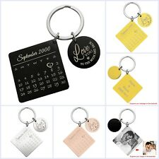 Custom Engraved Personalized Calendar Date w/ Love Stainless Steel Tag Key Chain
