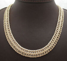 "18"" Double Row Interlocked Curb Cuban Chain Necklace Real 14K Yellow Gold QVC"