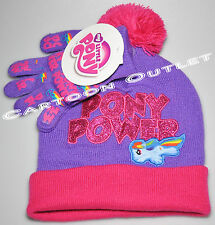 0b421a81a01 MY LITTLE PONY BEANIE HAT SET GLOVES GIRLS HASBRO GIFT WARM KNIT RAINBOW  DASH