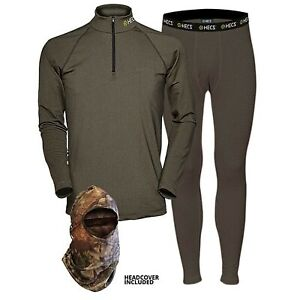 HECS Suit Base Layer Hunting Suit - 3 Piece Shirt, Pants, Headcover | Sm-3X