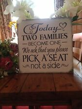 Wedding Seating Wooden Sign Reception Church Decoration Shabby Chic Vintage