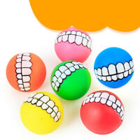 pet dog ball teeth funny silicon toy chew squeaker squeaky sound dogs play KK