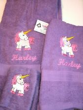 Unicorn Pony Personalized 3 Piece Bath Towel Set Any Color