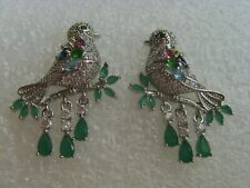 💎 Art-Deco stunning water-drop earrings, emerald, topaz & white gold filled