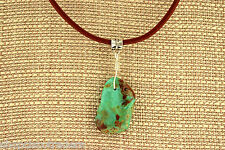 Unisex Campo Turquoise Sterling Silver Wire Wrap Necklace with Leather Cord