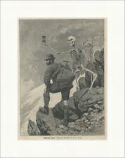 Memento mori Vanitas Tod Ahnenkult Mittelalter Skelett Jäger Holzstich E 22118