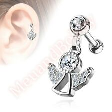 16G CZ Angel Dangle Cartilage Tragus Barbell Ear Ring Bar Stud Body Jewellery