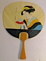 Vintage Ochiwa Japanese Hand-Held Silk Paper Paddle Fan Bamboo Wood Handle