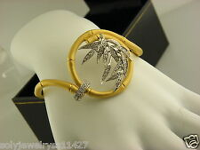 Carrera Y Carrera 18k Yellow & White Gold Diamond Bambu Bangle Bracelet.