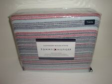 Tommy Hilfiger Alexander Woven Stripe Twin Duvet Cover Sham Set Blues Red $220