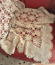 Vintage CROCHET LACE TABLE TOPPER Supper/Coffee Table Cloth Dark Ecru 81 cms squ