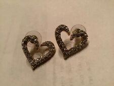 Beautiful Vtg Signed Swan Swarovski crystal Heart Gold Tone Pierced Earrings