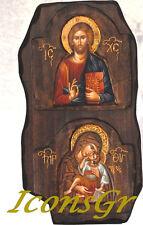 Handmade Wooden Greek Christian Orthodox Wood Icon DOUBLE WOOD ICON / B4