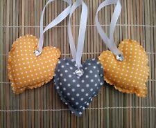 padded fabric hanging hearts grey/mustard yellow polka dot bedroom decoration