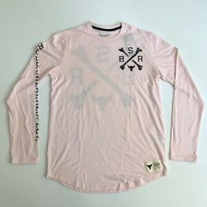 Under Armour Mens Medium Project Rock BSR Long Sleeve Shirt Pink Black New 1165
