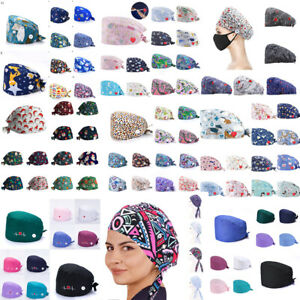 Unisex Doctor Nurse Surgical Cap Printing Scrub Hat Medical Working Head Covers