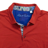 Mens ROBERT GRAHAM Polo Shirt Size Large Red Short Sleeve
