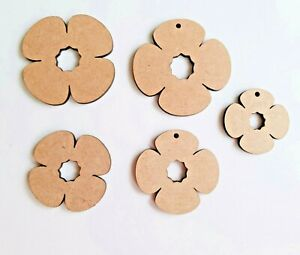 Laser Cut Rustic MDF Poppy Remembrance WW1 - 40mm to 100mm, Nordic, Craft