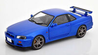 NISSAN SKYLINE GT-R R34 BLUE GREAT EXAMPLE NICE DETAIL 1:18 SCALE DIECAST MODEL