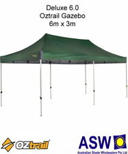 6m x 3m Oztrail Gazebo DELUXE 6.0 GREEN Instant Fold Marquee Pavilion G-OZD6.0