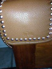 NEW Coach Rivets Dakotah Pebbled Leather Crossbody Messenger Saddle Brown $350