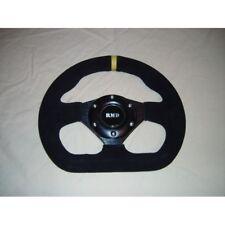 "Steering Wheel Suede 255mm 10"" Inch Flat D Shape IVA Kitcar Race Car New Black"