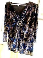 2X DRESSBARN velvet Knit Blouse WOMENS dressy gold and black