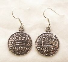 Viking Coin Earrings in Fine English Pewter, Handmade in Uk, Gift Boxed (wa)