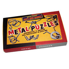 NEW 6 RETRO METAL PUZZLES IN BOX TRADITIONAL BRAIN TEASERS! HOM