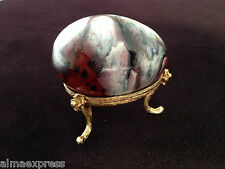Vintage Maroon Painted / Dyed Ceramic Egg w/ Gold-tone Stand, Collectible