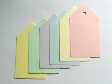 100 SMALL PLAIN GIFT TAGS PRICE LABELS MIXED PASTEL