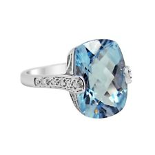 7.5 ct. Sky Blue Topaz & Diamond Ring 10k Cushion Cut, fancy setting