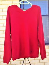 Tommy Hilfiger Red Jumper Sweater Classic Cotton V Neck Authentic Size S