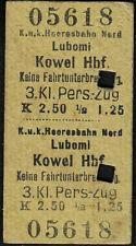 K.u.K.Heeresbahn-Fahrkarte(Polen),3.Kl.- Lubomi-Kowel Hbf.-1913