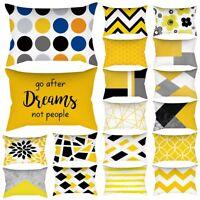 Yellow Pillow Case Cushion Cover Sofa Car Waist Throw Home Decor Gifts Rectangle