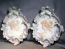 Pair Andrea Japan Bisque Porcelain Art Nouveau Rococo Plaques Portrait Lady Girl