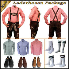 Oktoberfest German Bavarian Trachten Men 4 Pcs Short Lederhosen Package Set Sv44