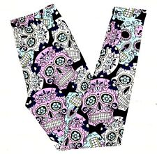 NWT Buttery Soft Sugar Skull Dia de Muertos Leggings One Size Day Of The Dead OS
